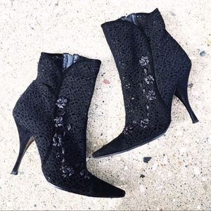 Casadei Black Floral Heel Booties